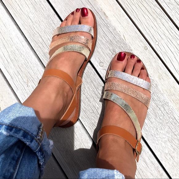 0e893e8e098a4 Gold Silver Copper Brown Leather Strap Sandals! ✨